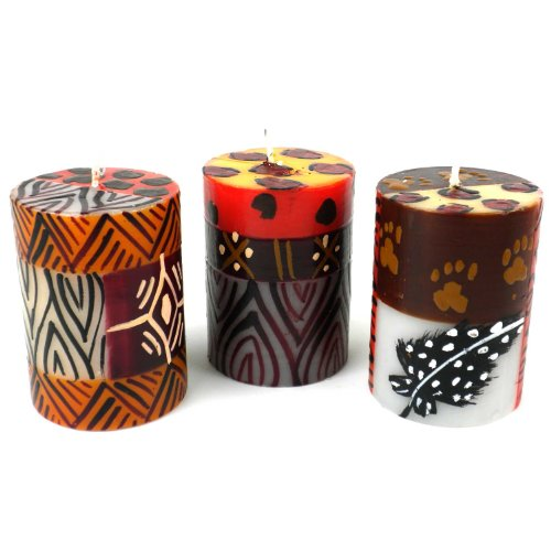 Global Crafts Set of Three Boxed Hand-Painted Candles - Uzima Design - Nobunto Candles