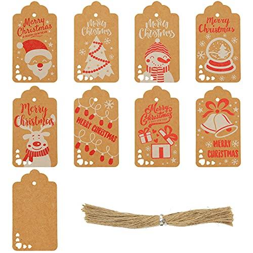 Koogel 100 Pcs Christmas Tags, Christmas Kraft Gift Tags Christmas Gift Tags Xmas Kraft Paper Tags for DIY Christmas Holiday Gift Wrapping Stamp Label Packaging Business Card