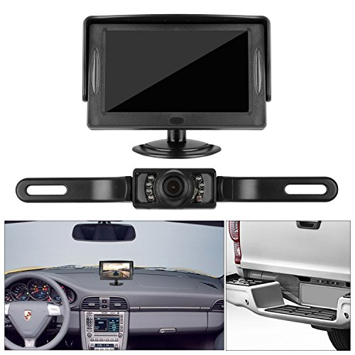 DohonesBest Backup Camera and 4.3 Display Monitor Kit only need Single power source and Rear view or Fulltime View optional Waterproof license plate Rear view camera Night Vision for Car Vehicle