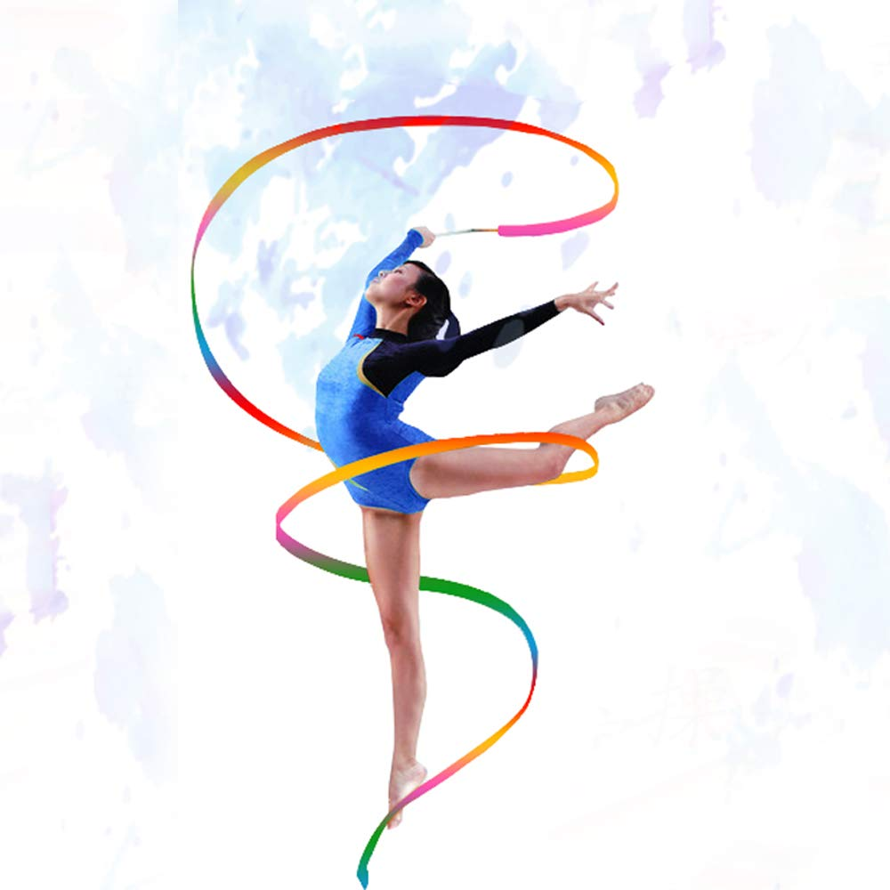 Baton Twirling HUIANER Dance Ribbons Streamers Rhythmic Gymnastic Ribbon Wands Rods for Children Art Dances 2 Pieces