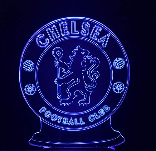 RTYHI Soccer Chelsea Badge Touch 3D Lamp Visual Stereo Colorful 3D Night Lamp USB Table Lamp Decorative Lighting