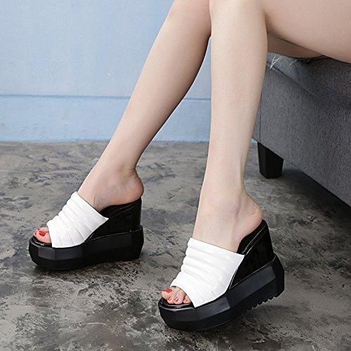 HBDLH Damenschuhe/atmungsaktiv/bequem/Hang Ferse Coole Weiblich Schuhe Weiblich Coole Sommer 13Cm Super Hochhackigen Dicke Hintern Muffin Schrift Hausschuhe.  Weiß f5433b