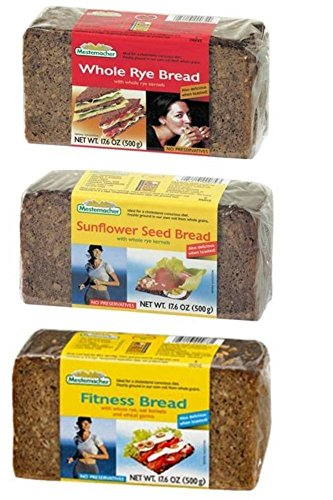Mestemacher Natural High Fiber Bread 3 Flavor Variety Bundle: (1) Mestemacher Fitness Bread, (1) Mestemacher Rye Bread, and (1) Mestemacher Sunflower Seed Bread, 17.6 Oz. Ea. (3 Total)