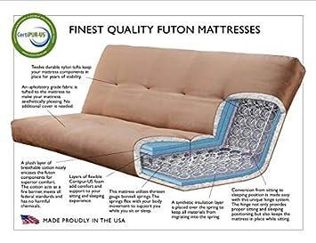 with Drawers Full Size Phoenix Espresso Frame w 7 Inch Mattress Microfiber Suede Futon Set Wood Sofa Bed Peat Mattress, Frame w Drawers Full Size