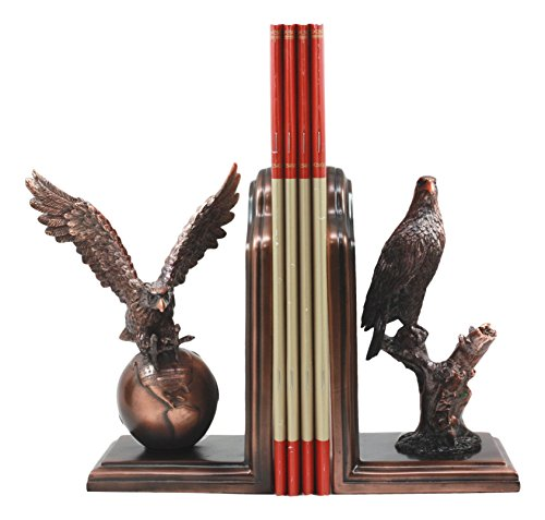 Ebros Wings of Glory Bald Eagle On Globe and Branch Bookends Bronze Electroplated Patriotic American Eagle Symbolic Figurine Resin Statue