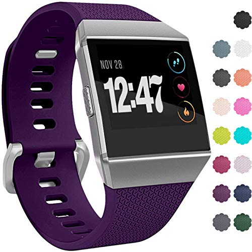 (Wepro Bands Compatible with Fitbit Ionic SmartWatch, Watch Replacement Sport Strap for Women Men Kids, Buckle, Small, Plum)