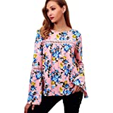 Flurries Women Dress, Fashion Women Casual Long Flare Sleeve Blouse Flower Print Shirt O-Neck Hollow Out Tops (M, Pink)