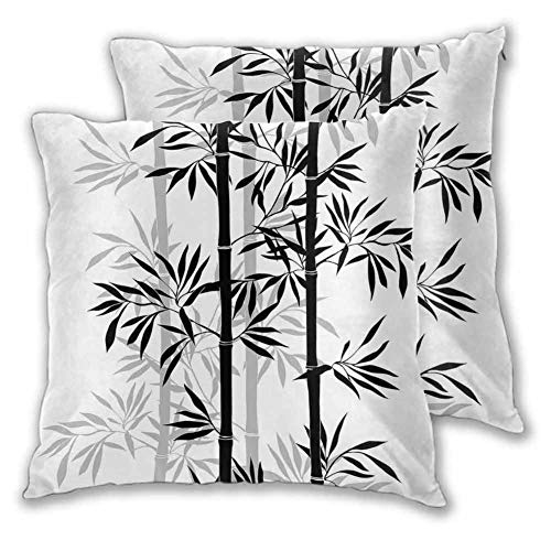 Tree of Life Square Pillowcase Silhouette of Spiritual Bamboo Tree Leaves Japanese Zen Feng Shui Boho Image for Sofa (2 PCS, 24x24 Inch) Black White