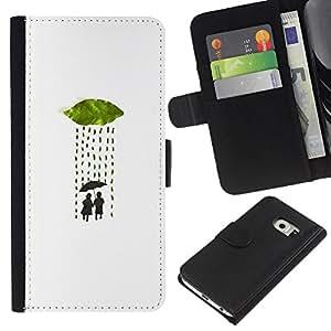 WINCASE ( No Para Normal S6 ) Cuadro Funda Voltear Cuero Ranura Tarjetas TPU Carcasas Protectora Cover Case Para Samsung Galaxy S6 EDGE - paraguas de la lluvia amor minimalista pareja