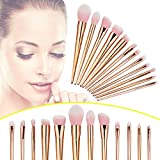 Happy Hours - 12 Pcs Pro High Quality Nylon Hair Gold Plated Handle Makeup Brushes Set for Essential Powder Foundation Eyeshadow Lip Concealer Makeup Brush Tool