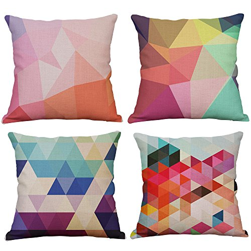 Set Of 4 Geometric Decorative Throw Pillow Covers Square Cot