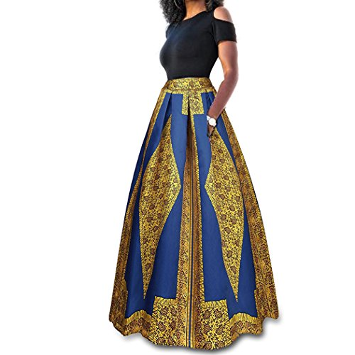 Raylans Women's African Floral Print Two Pieces A Line Long Skirt Maxi Dress Gold XL (Two Pocket Skirt)