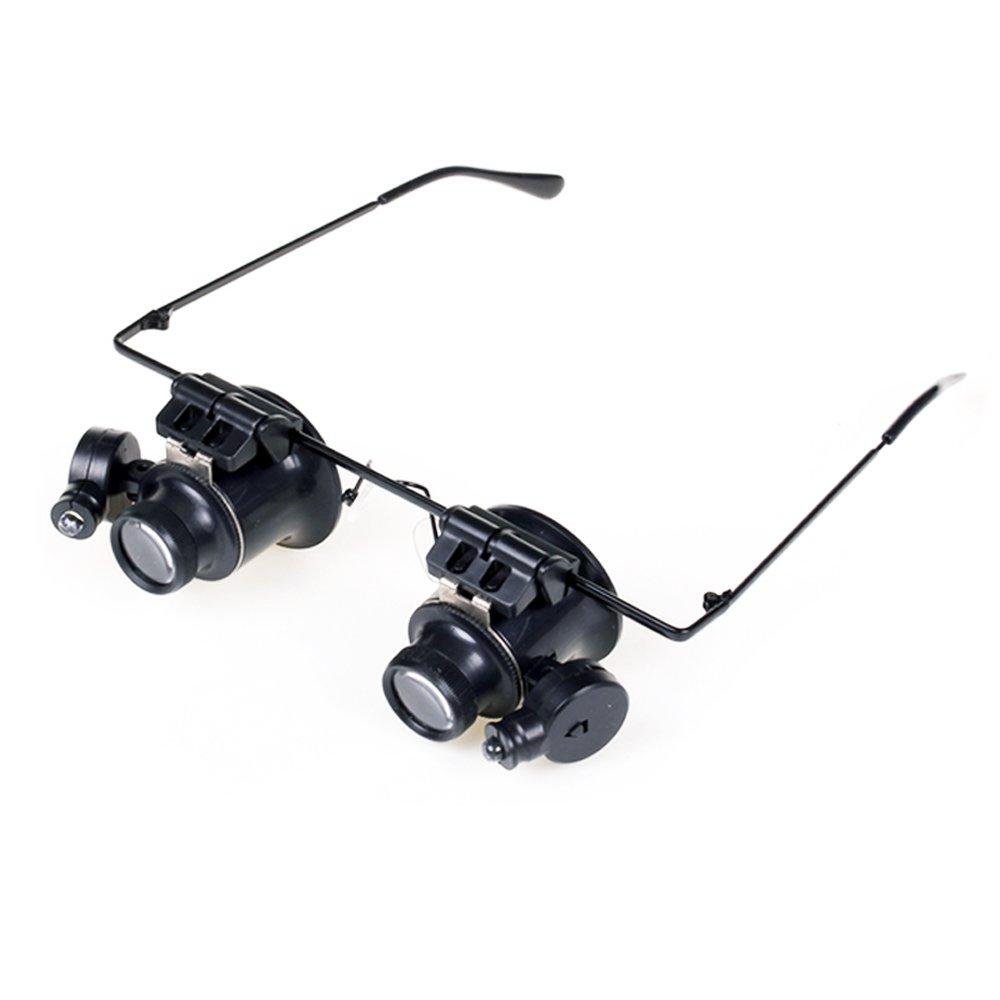 Kopfbandlupe, Manfore Kopflupe mit 2 LED / Stirnlupe / Stirnband ...