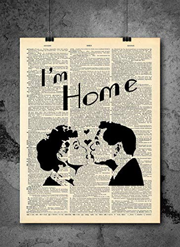 I Love Lucy - I'm Home Vintage TV Show Quote Art - Vintage Dictionary Print 8x10 inch Home Local Vintage Prints Art Abstract Prints Wall Art for Home Decor Wall Decorations Upcycled Book Art UnFramed