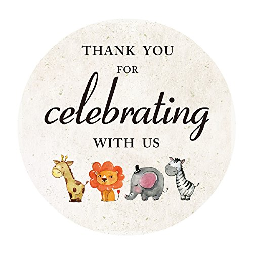 2 Inch Jungle Animals Thank You Stickers, Safari Baby Shower or Birthday Favor Sticker Labels, 40-Pack by MAGJUCHE