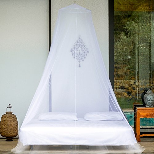 PREMIUM MOSQUITO NET for Twin, Queen and King Size Bed, Large Mosquito Netting Curtains, Canopy for Bed, Round Insect Fly Screen, Insect Protection Repellent Shield, Full Hanging Kit, Gift Bag & eBook