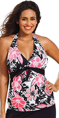 Shore Club Women's Plus Size Halter Top 18 Multi