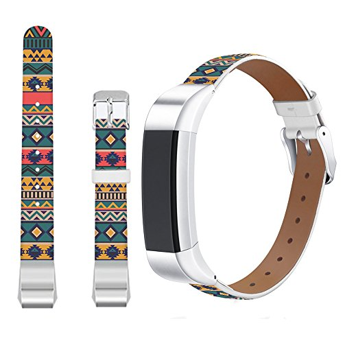 Jolook for Fitbit Alta Leather Band Aztec,Jolook Replacement Leather Wristband Straps Bands for Fitbit Alta HR /for Fitbit Alta - Colorful and Beautiful Aztec