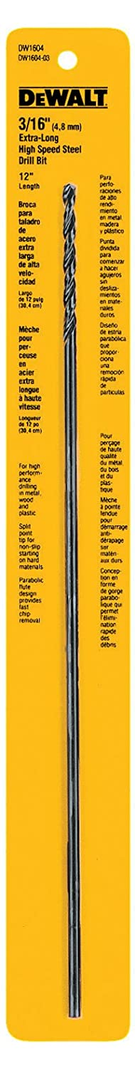 DEWALT DW1604 3/16-Inch by 12-Inch Extra Long Black Oxide Drill Bit