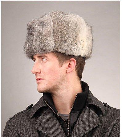 2139c8350f1 URSFUR Men s Rabbit Full Fur Russian Ushanka Trooper Hats Multicolor (Gray)