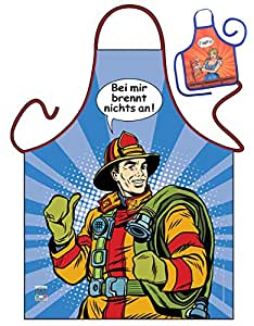 Delantal para mí cumbustión Nada a Bomberos Comic Look Delantal GeIL estampado Set de regalo con mini botella Delantal