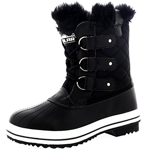 (Polar Womens Snow Boot Nylon Short Winter Snow Fur Rain Warm Waterproof Boots - Black - 9-40 -)