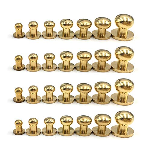 (28PACK 4MM 5MM 6MM 7MM 8MM 9MM 10MM Combination Sam Browne Solid Brass Round Button Studs,Leather Craft Belt Chicago Screws Solid Brass Studs Nail Rivets DIY for Belt Wallet Handbag )
