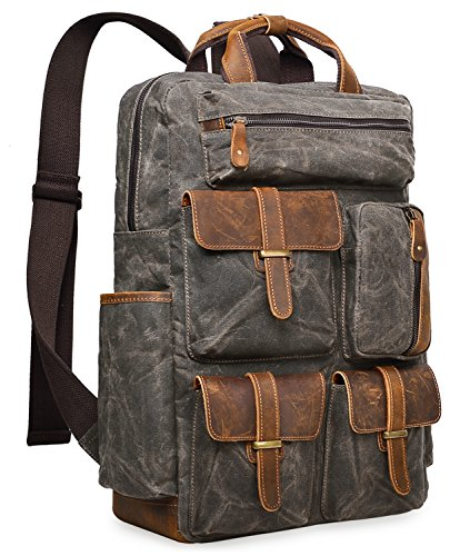 Light Green Canvas - ALTOSY Water Resistant Canvas Backpack Crazy Horse Leather Backpack for men Laptop Bag 5351 (Light Green)