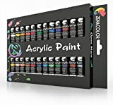 Zenacolor  Acrylic Paint Set, 24 Acrylic Paints, 24 Tubes of 0.4 oz (12 mL) - Art Set for Adults and Kids - Craft Supplies Painting Canvas Panels, River Rocks, Glass, Wood, Fabric, Ceramic
