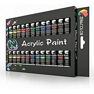 Zenacolor Acrylic Paint Set, 24 Acrylic Paints, 24 Tubes of 0.4 oz (12 mL) – Art Set for Adults and Kids – Craft Supplies Painting Canvas Panels, River Rocks, Glass, Wood, Fabric, Ceramic