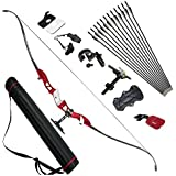 Sportsmann Archery Recurve Bow Takedown 20-34lbs Metal Riser Longbow Hunting Bows Athletic Bow 64inch with 12PCS Arrows Sets for Right Handed Target Practice Shooting Games