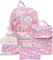 6 Pc. Sequin Girls Backpack Set, 16 inch, w/Washable Cloth Kids Face Mask, Lunch Bag, Pencil Case…