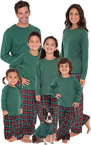 PajamaGram Family Christmas Pajamas Cotton - Flannel Plaid, Red/Green, Men's, LG -
