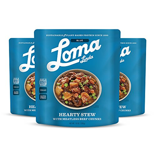 Loma Linda Blue - Vegan Complete Meal Solution - Heat & Eat Hearty Stew (10 oz.) (Pack of 3) - Non-GMO, Gluten - Linda Blue