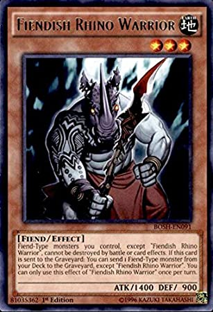 Yugioh 1st Edition Fiendish Rhino Warrior Rare BOSH-EN091