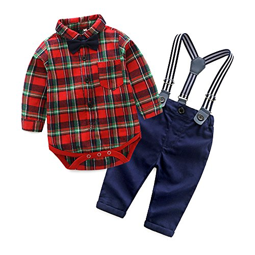 Baby Christmas Suit (Top and Top Gentle Baby Boys Cotton Long Sleeve Plaid Romper Jumpsuits with Suspender Pants Clothing Set (70/0-6 Months,)