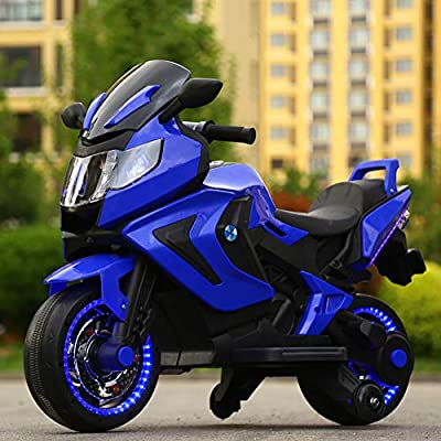 W&HH Electric Motorcycle for Kids,Ride-On Toy, Battery Power Motorized Electric Kids Ride-On Motorcycle Bike 12V Front LED Motorcycle,Blue: Sports & Outdoors