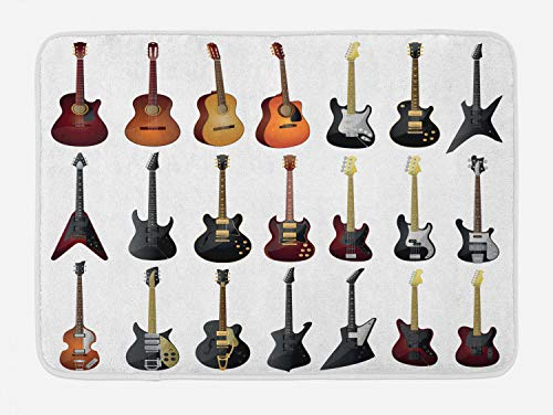 Ambesonne Music Bath Mat, Instruments Pattern Classical and Bass Varieties of Guitars Rock and Jazz Music Theme, Plush Bathroom Decor Mat with Non Slip Backing, 29.5