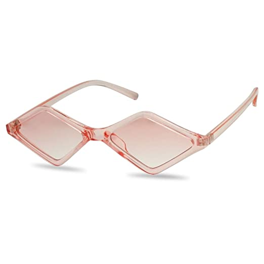 eab836698a13 Amazon.com: SunglassUP Geometric Colorful Translucent Vintage Diamond Shape Sunglasses  Small Narrow 90's Flat Lens Shades (Crystal Pink): Clothing