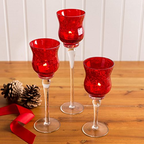 c669ecb3ca Christmas Illume Glass Stem Candleholder - Set of 3 (Clear/Red): Amazon.ca:  Home & Kitchen