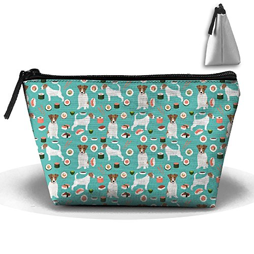 Jack Russell Terrier Sushi Food Dog Receive Bag Pencil Case Pencil Bag Durable Pouch Zipper Big Capacity Trave Makeup Cosmetic Bag Organizer (Big Jack Russell Terrier)