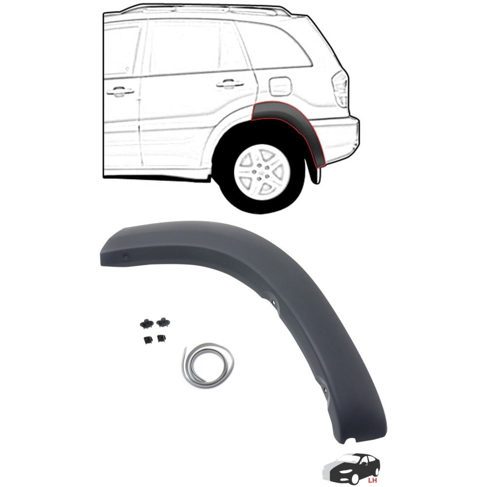 Evan-Fischer EVA28072048909 Rear Wheel Opening Molding for Toyota RAV4 01-05 LH Rear Section Black Paint To Match Left Side