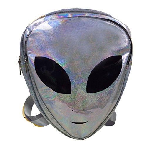 (Buddy Alien Kids Backpack PVC Holographic Shoulder Bag Clear Purse Travel Satchel)