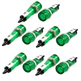 uxcell 10 Pcs DC 12V Recessed Green Pilot Light Signal Indicator Lamp
