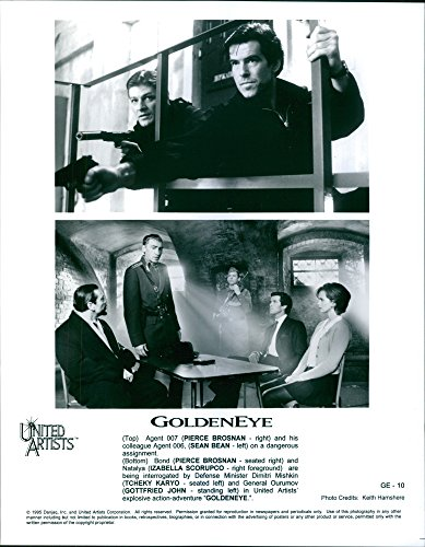 "Collector photo of Pierce Brosnan, Sean Bean, Izabella Scorupco, Tch233;ky Karyo and Gottfried John star in the seventeenth spy film in the James Hold together series, ""GoldenEye."""