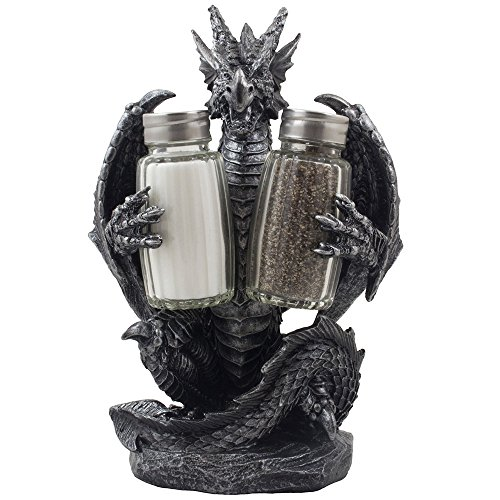 (Mythical Dragon Salt and Pepper Shaker Set with Holder Figurine for Medieval & Fantasy Bar or Kitchen Table Decor Sculptures and Gothic Gifts by Home-n-Gifts)