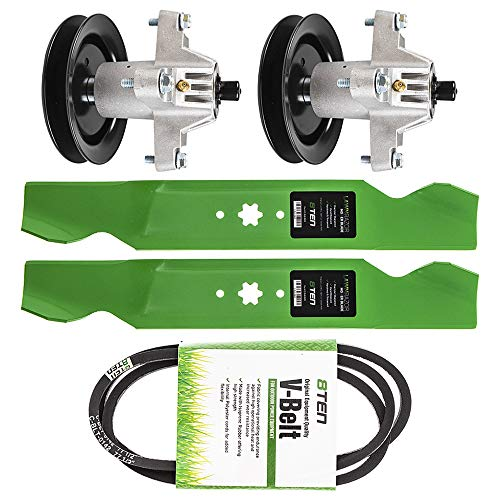 8TEN Deck Blade Belt Spindle Kit Set Combo 38 Inch for MTD Columbia CLT38G 942-0610A 954-04062