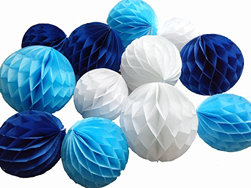 Daily Mall 12Pcs 8inch 10 inch Art DIY Tissue Paper Honeycomb Balls Party Partners Design Craft Hanging Pom-Pom Ball Party Wedding Birthday Nursery Decor (White Blue Navy blu (Blue Art Tissue Ball)
