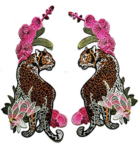 (PP Patch Size Big Jumbo Tiger Beautiful Flower Wild Animal Patch Lady Rider Biker Tatoo Logo Back Motorcycles Jacket T-Shirt Patch Sew Iron on Embroidered Sign Badge Costume)