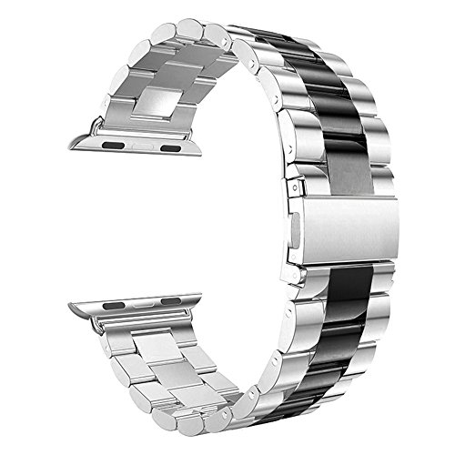 Silver With Black Stainless Steel Band - Leefrei Stainless Steel Replacement Strap Watch Band Compatible with Apple Watch Series 4 (44mm) Series 3 2 1 (42mm) - Silver/Black